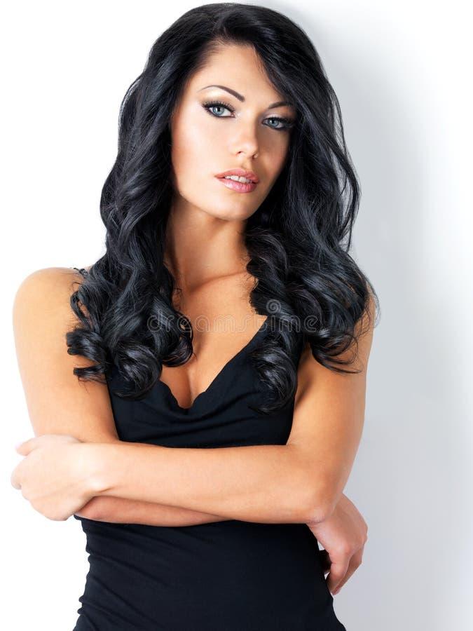 Retrato da mulher bonita com cabelo longo imagens de stock royalty free