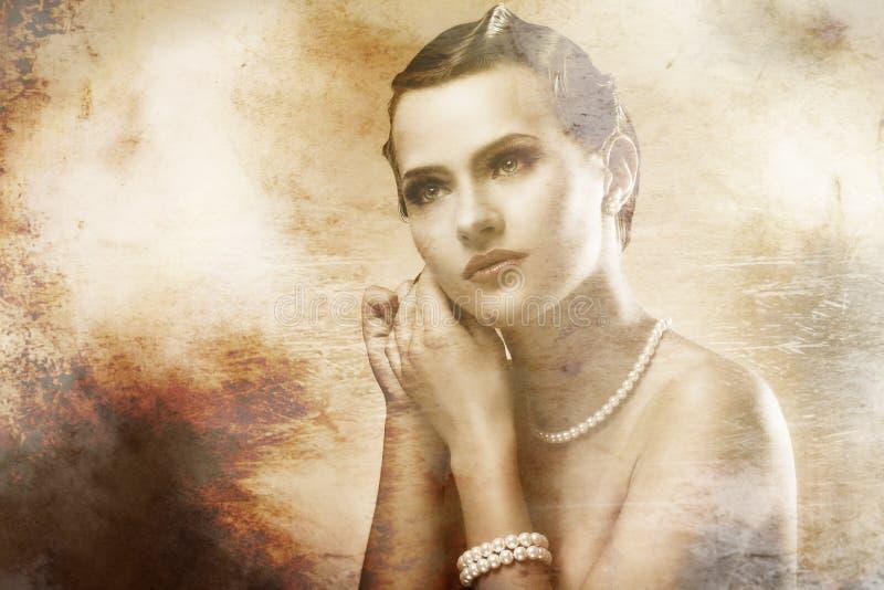 Retrato da mulher bonita com efeito velho da foto foto de stock royalty free