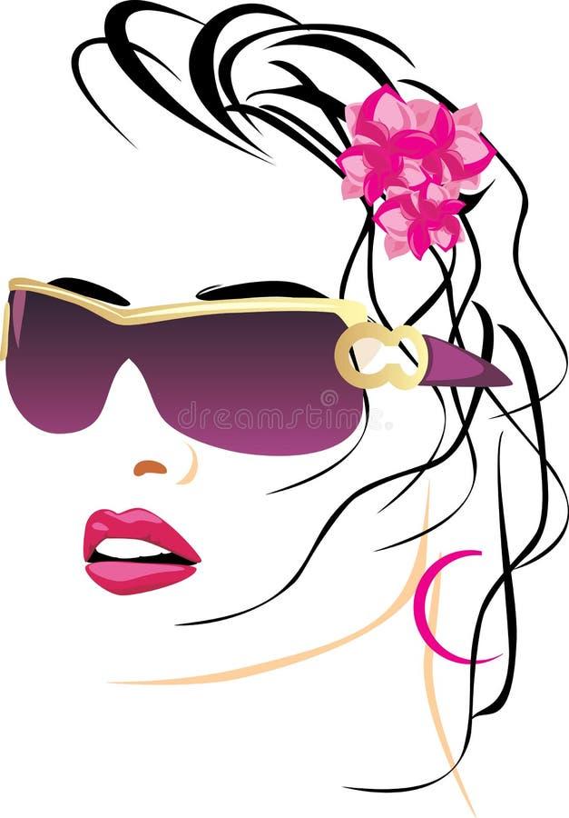Retrato da mulher bonita com vidros ilustração royalty free