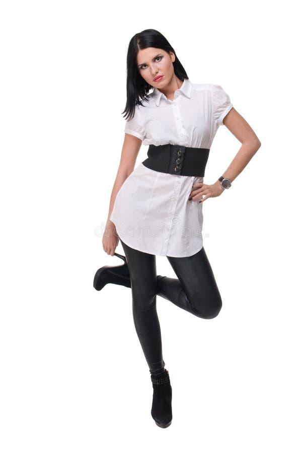 Download Retrato Da Mulher Bonita Da Forma No Terno Branco Imagem de Stock - Imagem de clear, composição: 12805461
