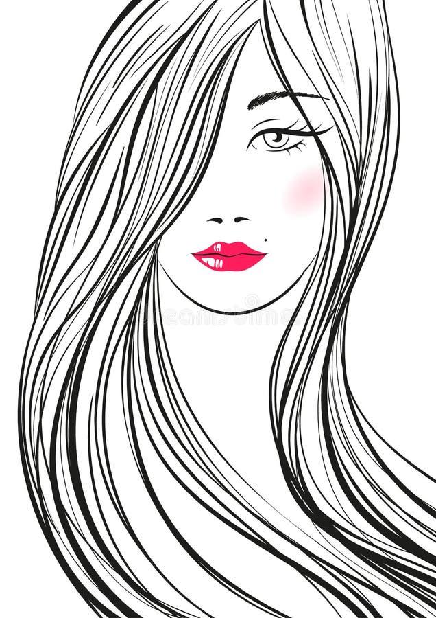 Retrato da mulher bonita nova com cabelo longo Gir tirado mão ilustração stock