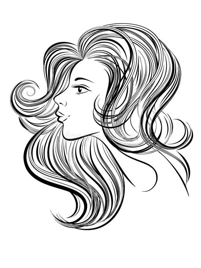 Retrato da mulher bonita nova com cabelo longo Menina desenhada mão ilustração do vetor