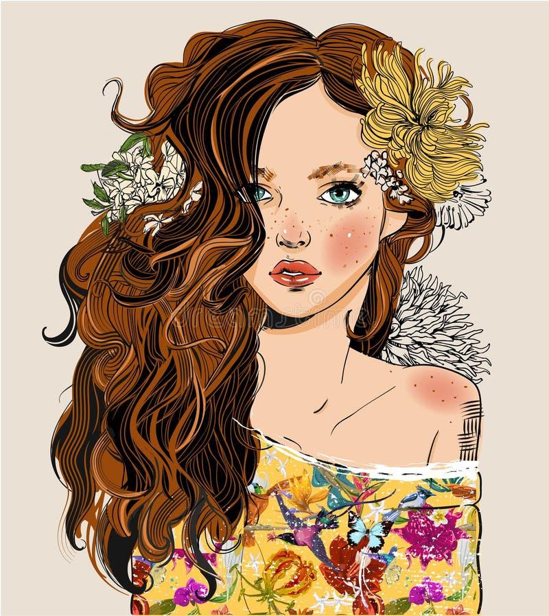 Retrato da mulher bonita nova com flores ilustração royalty free