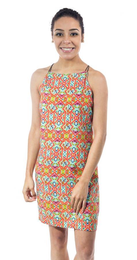 Retrato da mulher brasileira Veste um vestido colorido verão fotos de stock royalty free