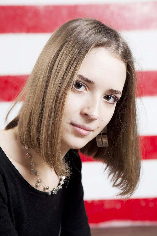 Retrato da mulher calma loura fotografia de stock