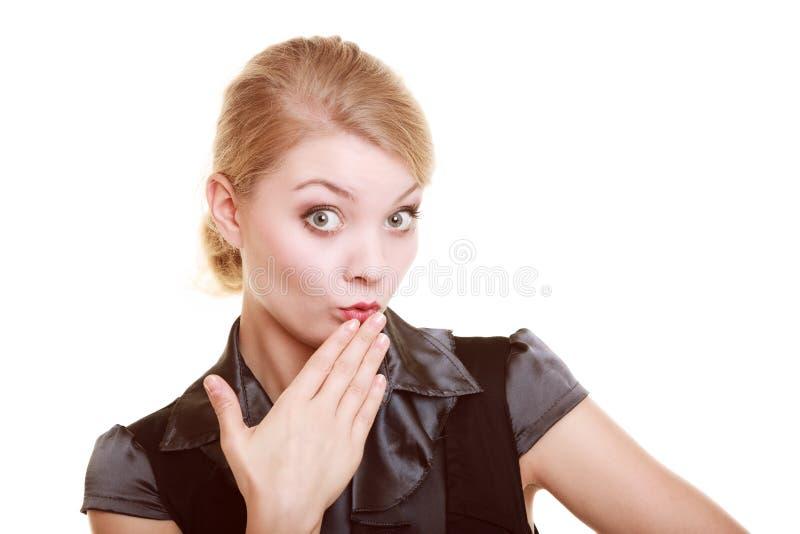 Retrato da mulher chocada mulher de negócios surpreendida imagem de stock