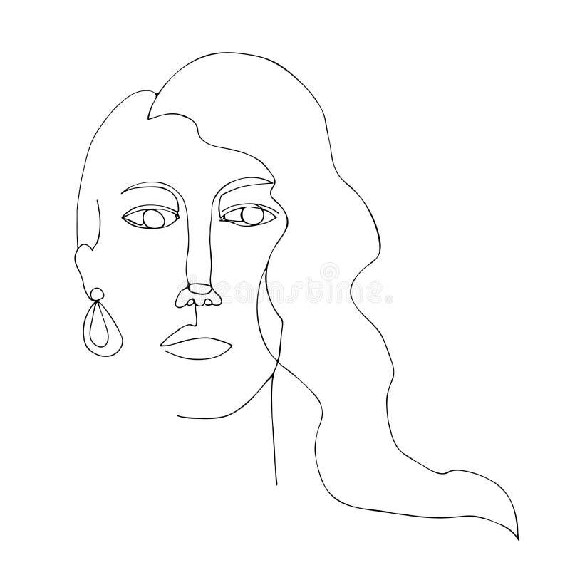 Retrato da mulher com cabelo longo Linha arte cont?nua Um a l?pis desenho Gr?fico minimalista preto e branco ilustração royalty free