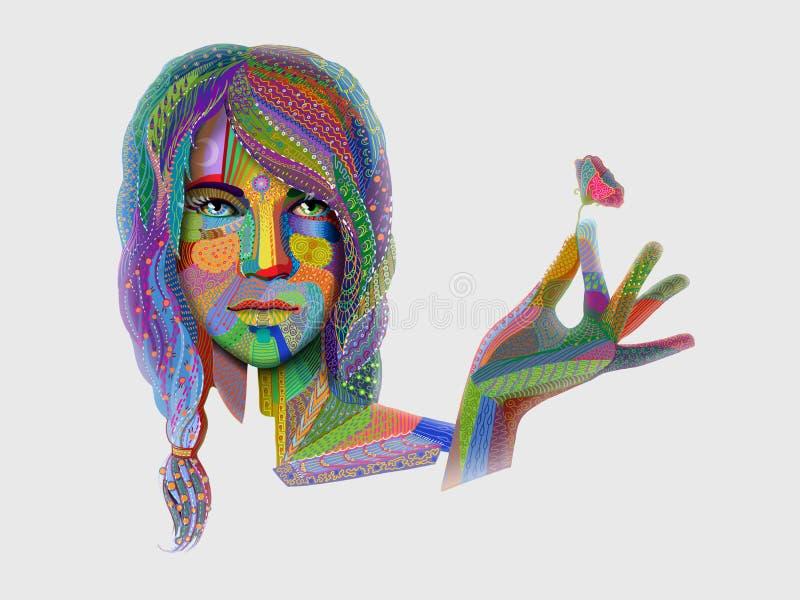 Retrato da mulher com o teste padrão indiano colorido que guarda a flor ilustração do vetor
