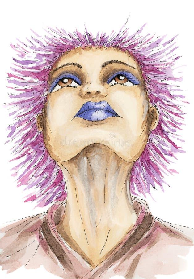 Retrato da mulher com penteado da cerda ilustração stock