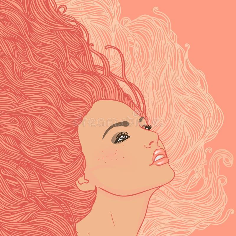 Retrato da mulher consideravelmente nova no perfil ilustração royalty free