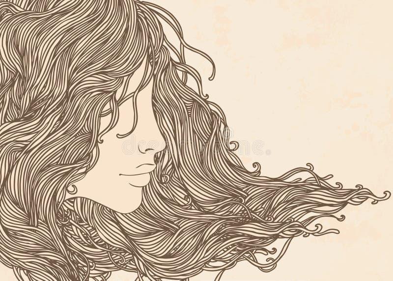 Retrato da mulher consideravelmente nova no perfil ilustração stock