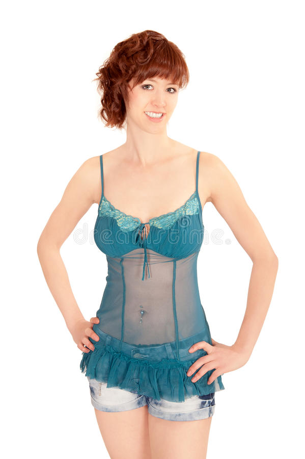 Retrato da mulher consideravelmente nova que desgasta calças quentes fotografia de stock royalty free