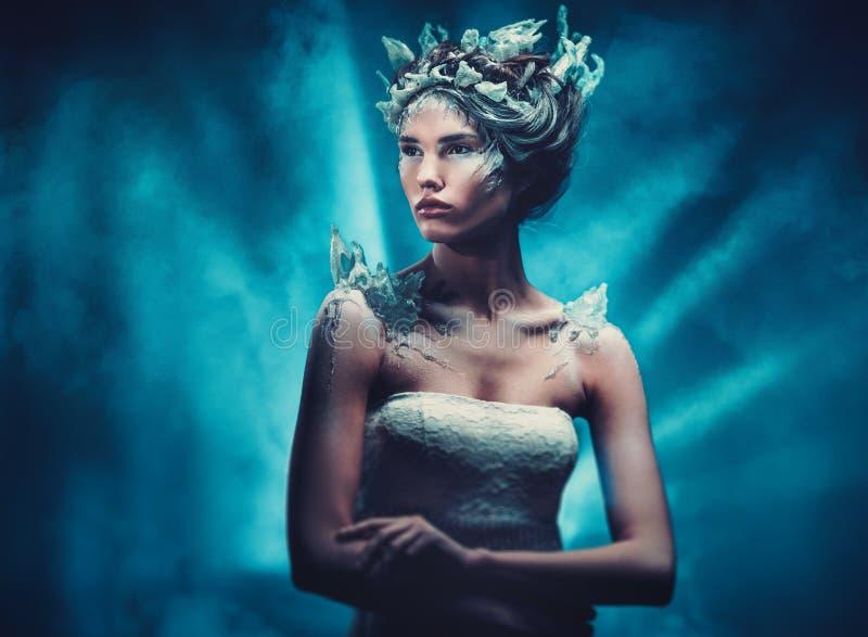 Retrato da mulher da fantasia da beleza do inverno fotografia de stock royalty free