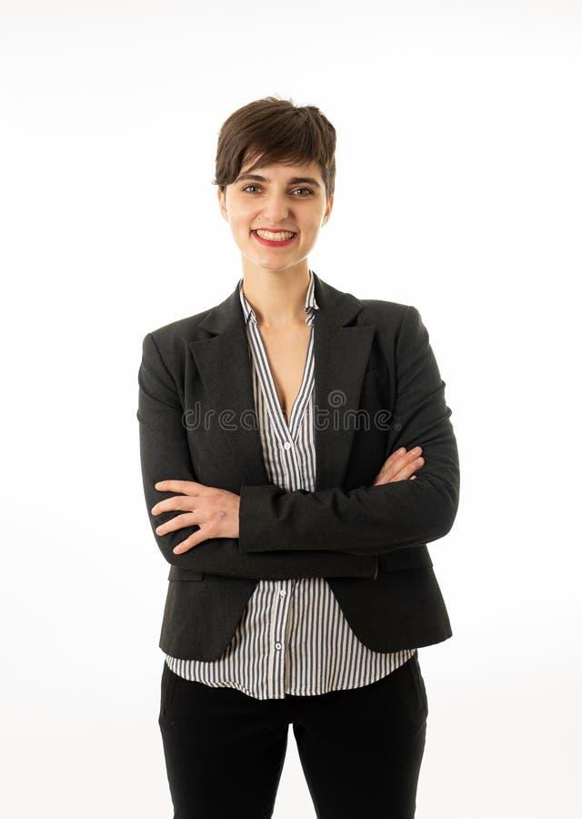 Retrato da mulher de empresa atrativa feliz que olham segura e de bem sucedido isolado foto de stock royalty free
