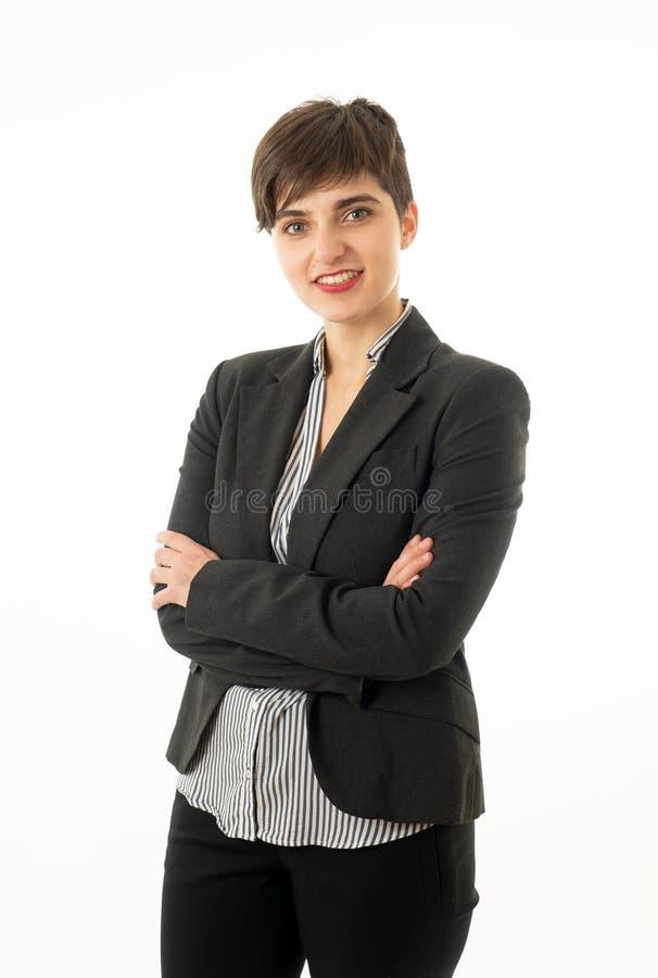 Retrato da mulher de empresa atrativa feliz que olham segura e de bem sucedido isolado foto de stock