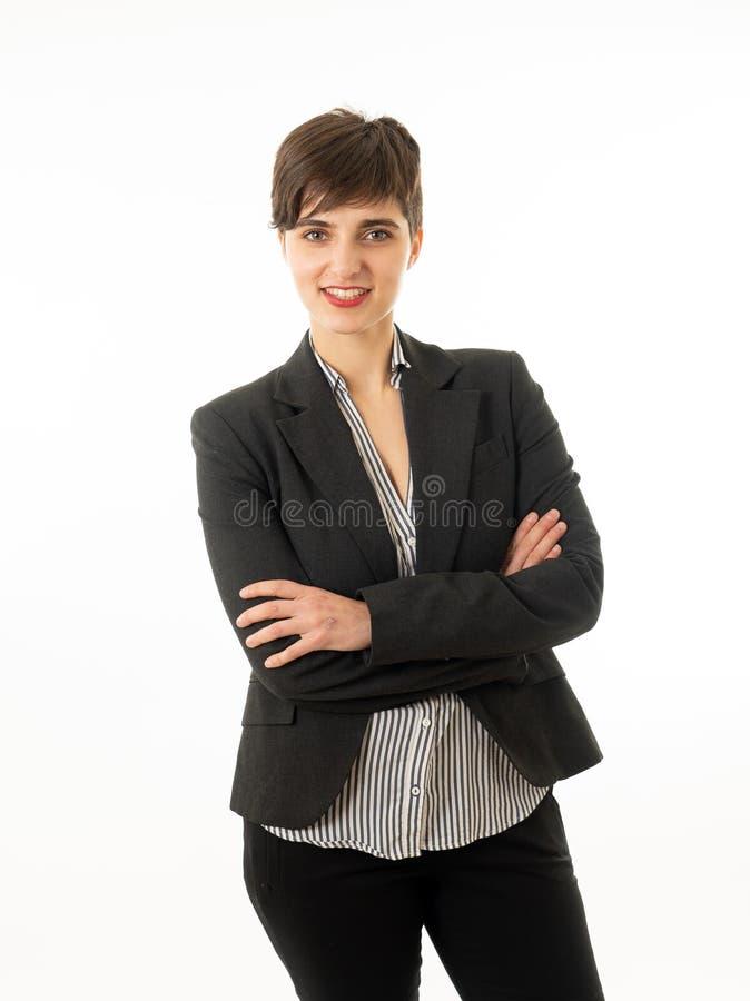 Retrato da mulher de empresa atrativa feliz que olham segura e de bem sucedido isolado imagem de stock royalty free