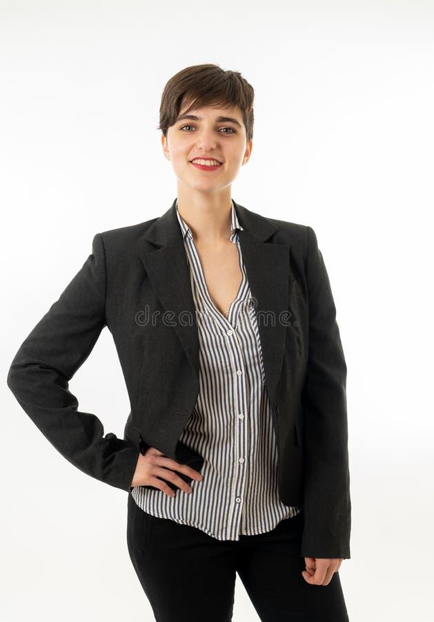 Retrato da mulher de empresa atrativa feliz que olham segura e de bem sucedido isolado fotografia de stock royalty free