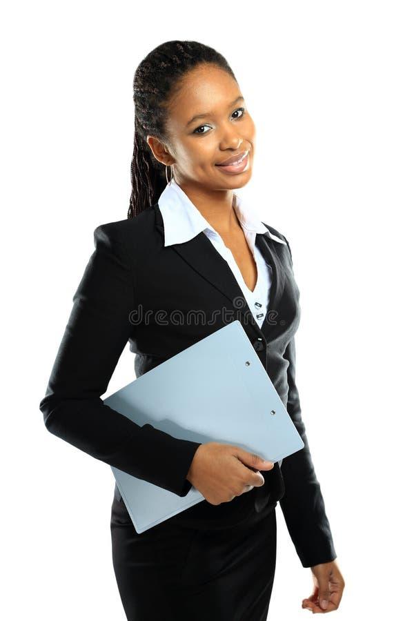 Retrato da mulher de negócio americana africana feliz fotos de stock royalty free