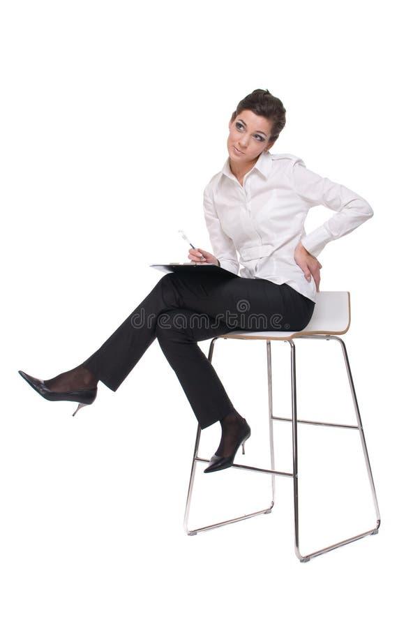 Download Retrato Da Mulher De Negócio Emocional Na Cadeira Imagem de Stock - Imagem de carreira, agradável: 12805117