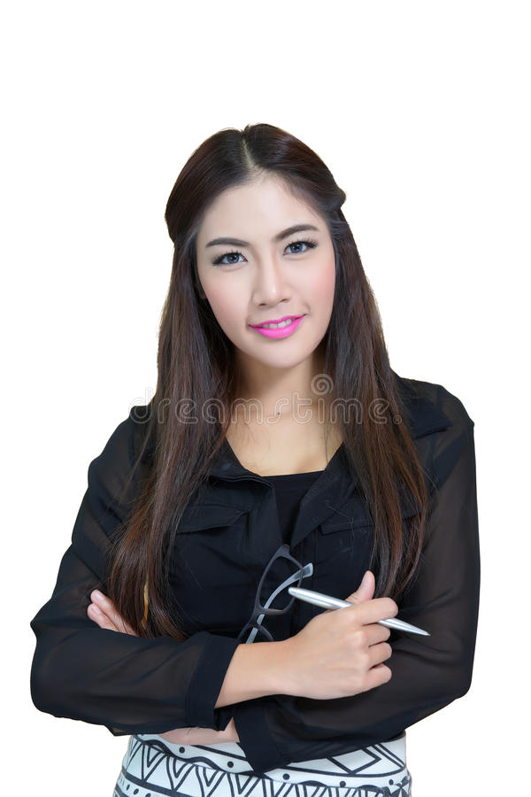 Retrato da mulher de negócio nova com os braços cruzados foto de stock royalty free