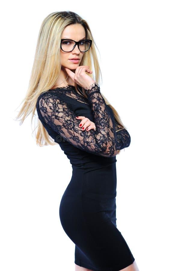 Retrato da mulher de negócio nova segura 'sexy' no portr dos vidros foto de stock