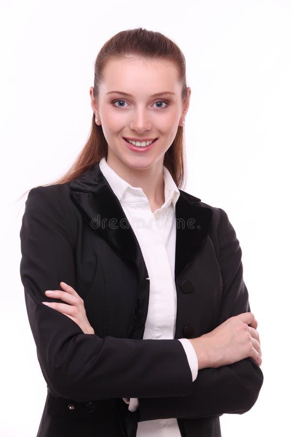 Retrato da mulher de negócio positiva. imagens de stock royalty free