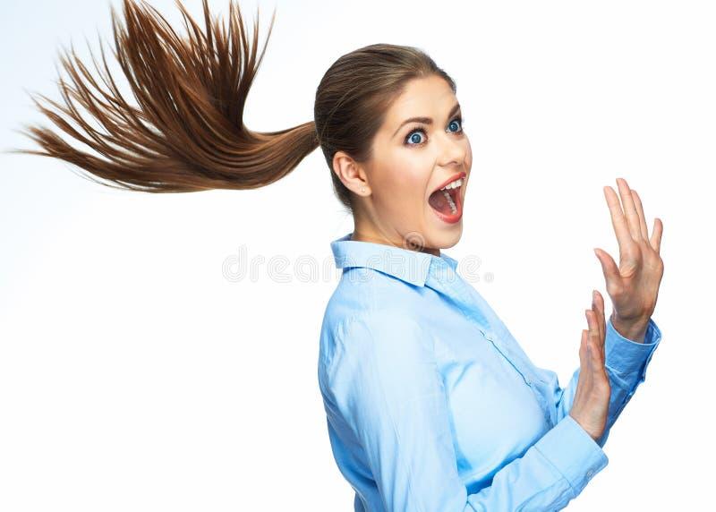 Retrato da mulher de negócio surpreendente Isolado no backgr branco fotografia de stock royalty free