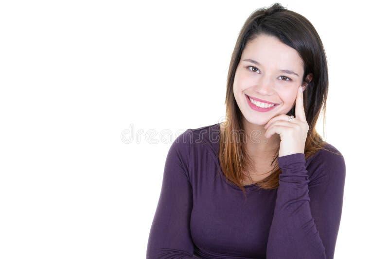 Retrato da mulher de negócios de sorriso nova da mulher que olha in camera com espaço da cópia fotografia de stock royalty free