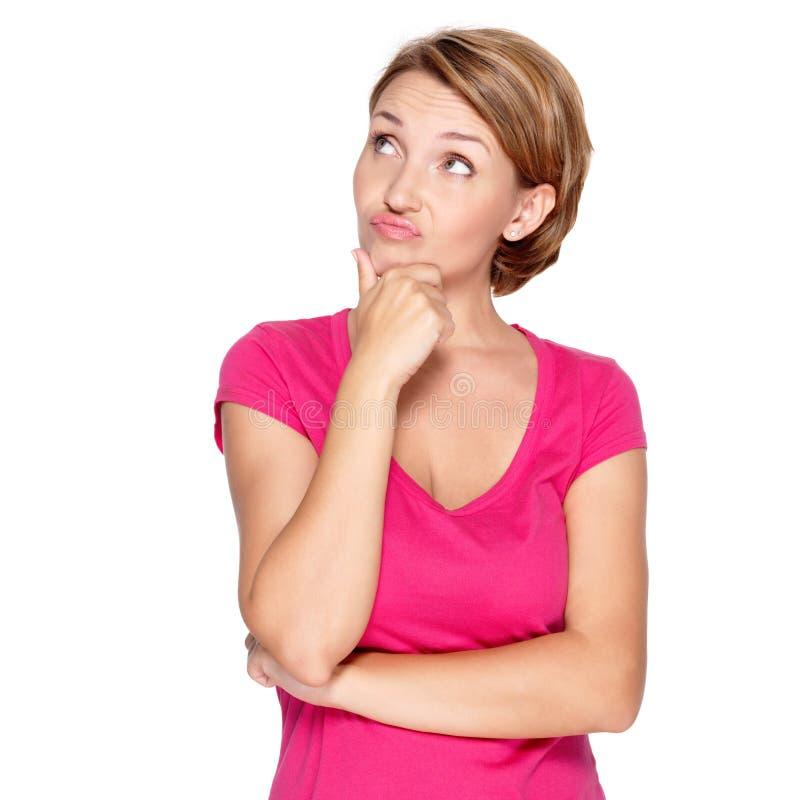 Retrato da mulher de pensamento das apreensões imagens de stock royalty free