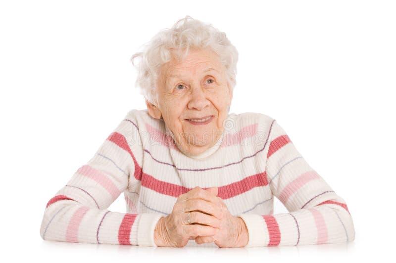 Retrato da mulher de sorriso idosa imagens de stock