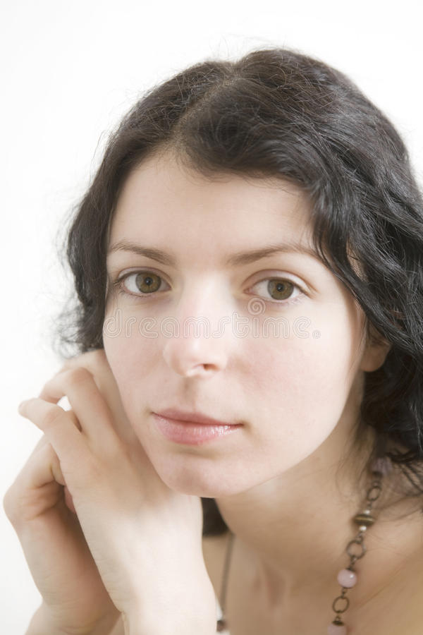 Retrato da mulher do brunette da onda fotos de stock