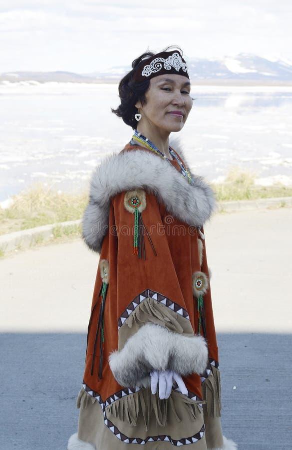 Retrato da mulher do chukchi imagens de stock royalty free