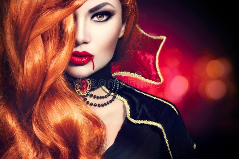 Retrato da mulher do vampiro de Dia das Bruxas imagem de stock royalty free
