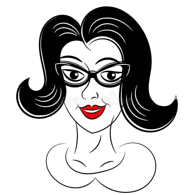 Retrato da mulher do vintage isolado ilustração do vetor