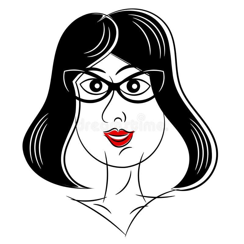 Retrato da mulher do vintage isolado ilustração stock