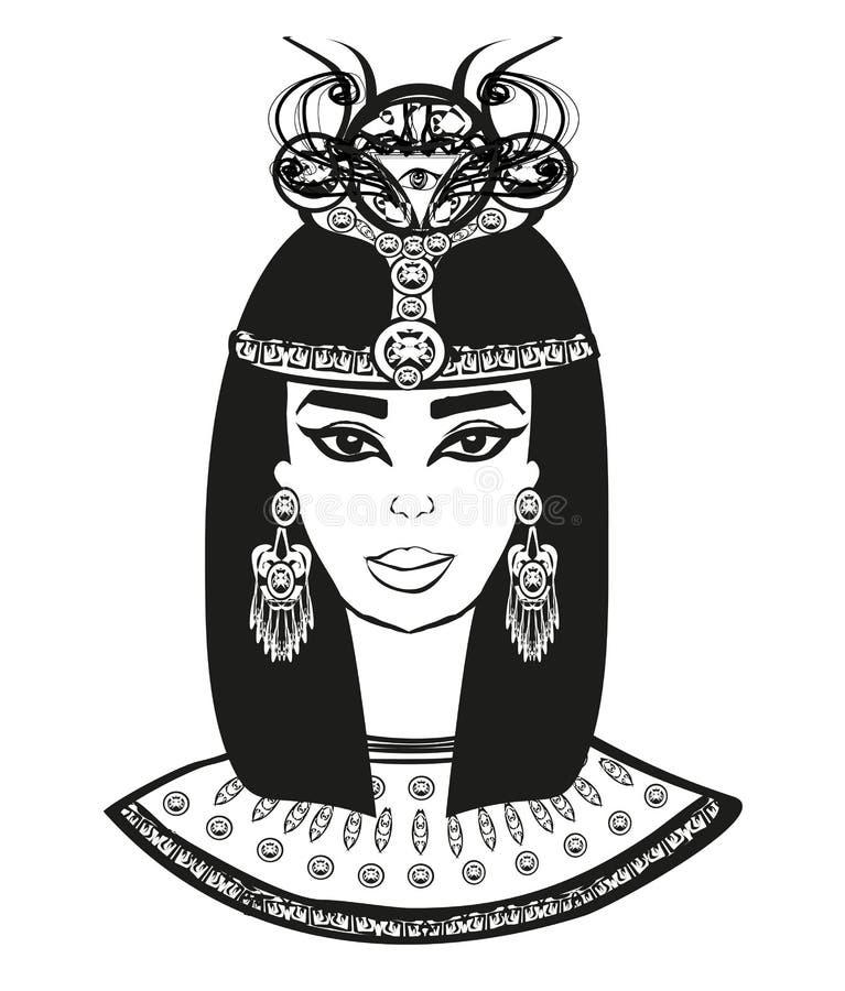 Retrato da mulher egípcia bonita ilustração do vetor