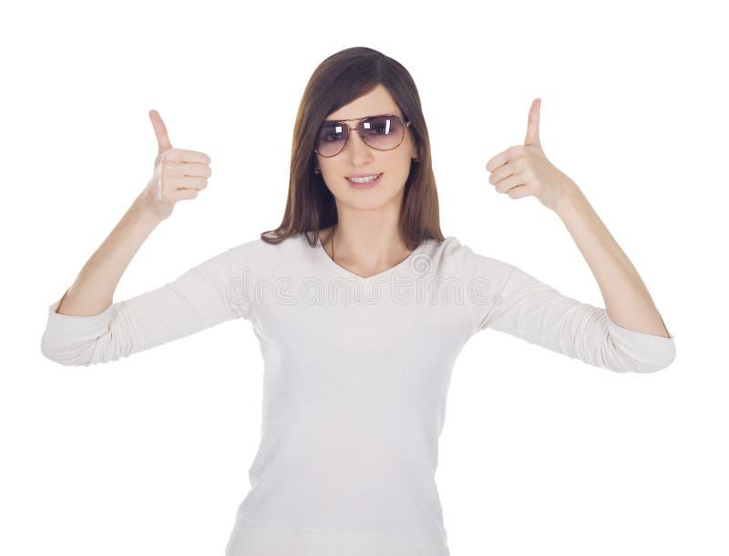 Retrato da mulher encantadora com polegares acima imagem de stock royalty free