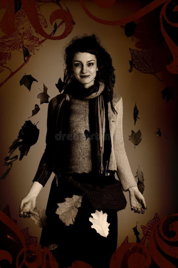 Retrato da mulher, estilo do grunge fotografia de stock