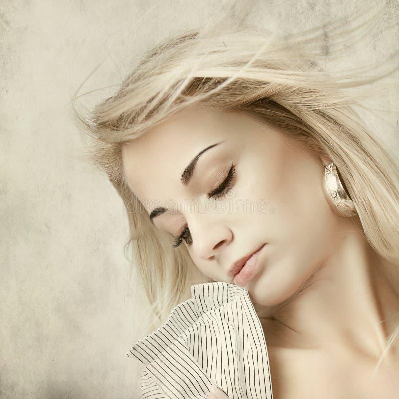 Retrato da mulher - estilo retro imagem de stock royalty free