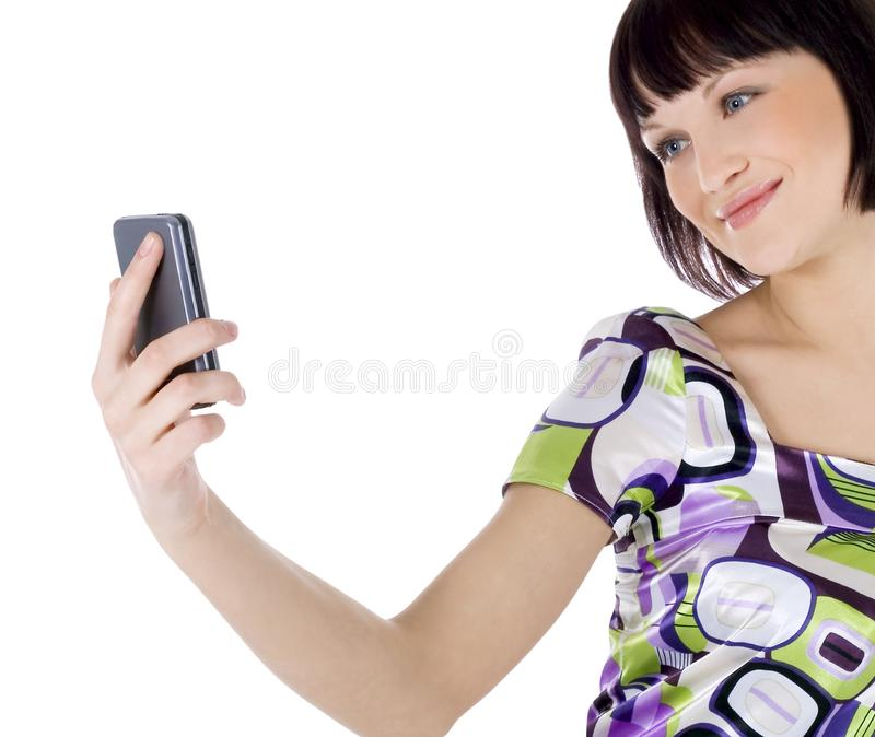Retrato da mulher feliz com telefone de pilha fotos de stock royalty free