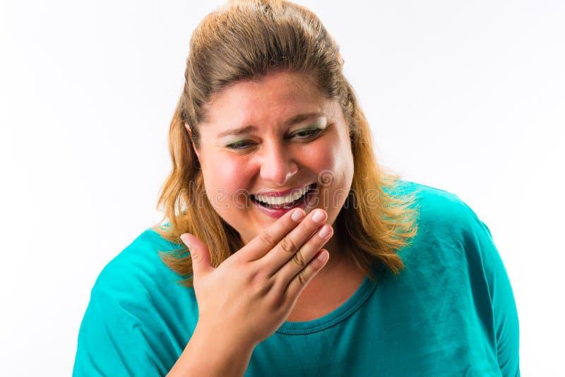 Retrato da mulher gorda alegre foto de stock royalty free