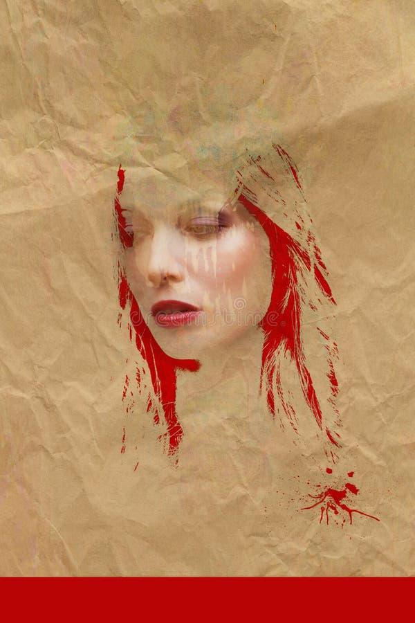 Retrato da mulher da liga com textura da cor vermelha e do papel fotografia de stock