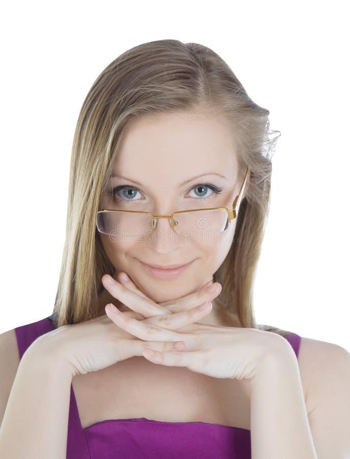 Retrato da mulher loura bonita nos vidros imagens de stock royalty free