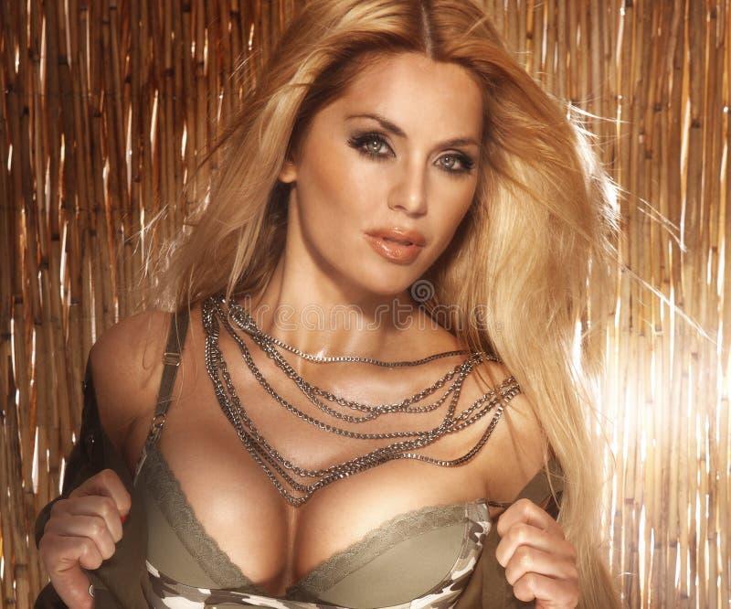 Retrato da mulher loura 'sexy' com peito grande. imagem de stock royalty free