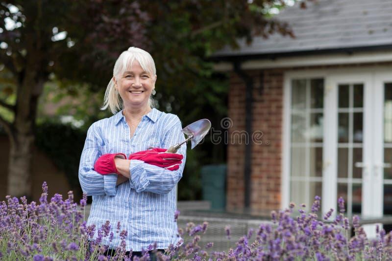 Retrato da mulher madura que trabalha no jardim fotos de stock