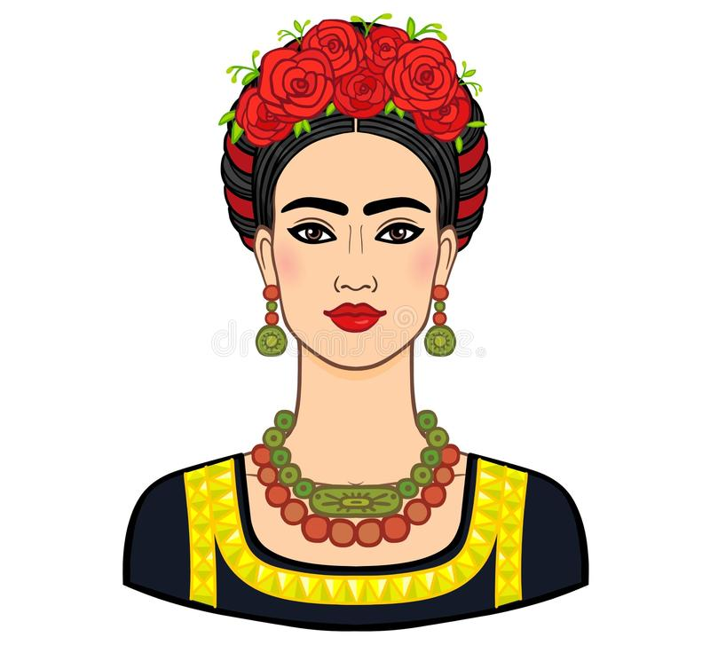 Retrato da mulher mexicana bonita na roupa antiga Chique de Boho, étnico, vintage ilustração stock