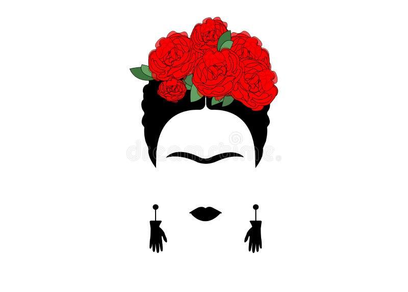 Retrato da mulher mexicana ou espanhola Frida minimalista com as mãos dos brincos e as flores vermelhas, vetor isoladas ilustração royalty free