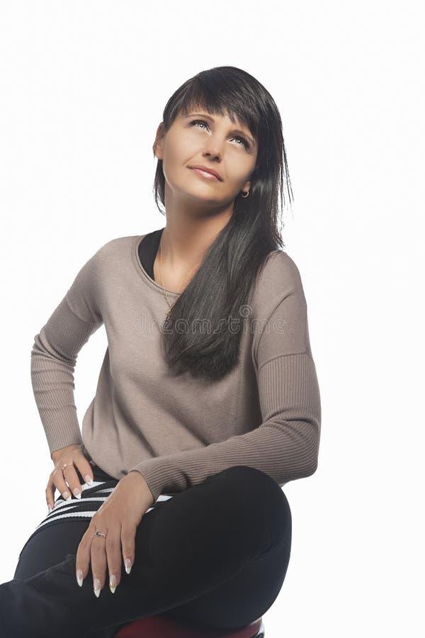 Retrato da mulher moreno caucasiano foto de stock