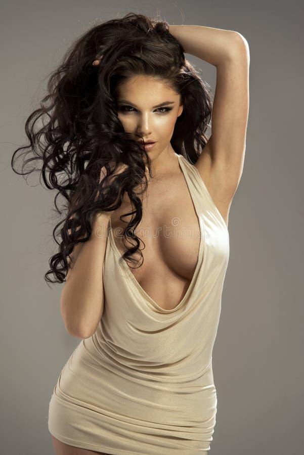 Retrato da mulher moreno sensual bonita foto de stock royalty free