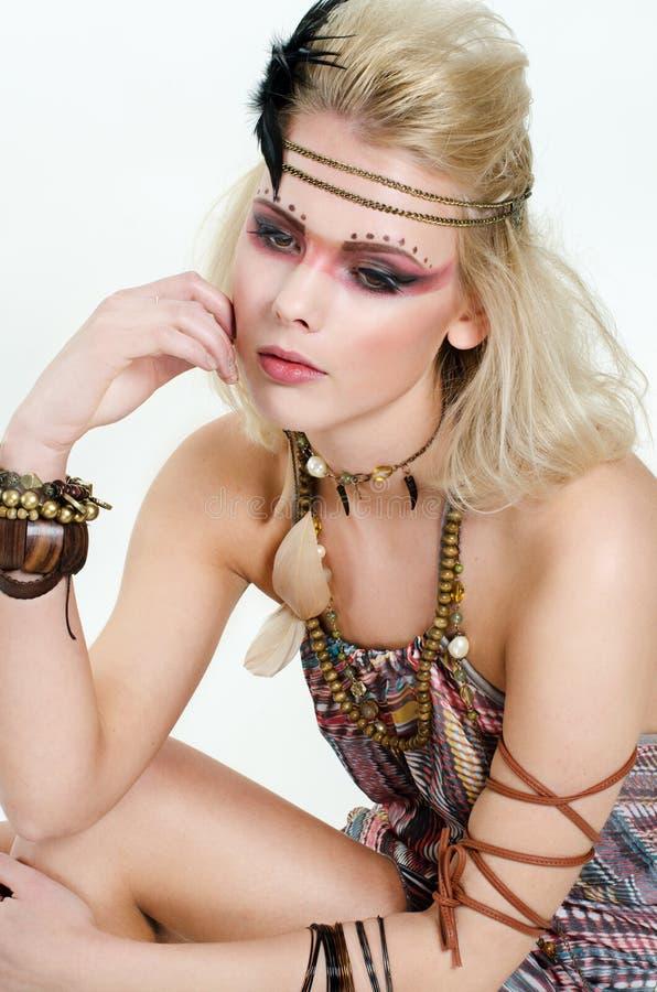Retrato da mulher nativa foto de stock royalty free